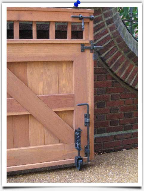 bronze hardware wood gate